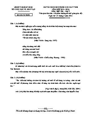 Đề thi học sinh giỏi cấp tỉnh Ngữ văn 9 (Có đ
