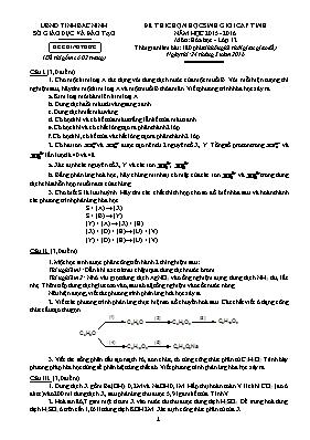 Đề thi học sinh giỏi Hóa học lớp 12 - Năm học