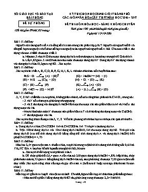 Đề thi học sinh giỏi thành phố Hóa học (Đề dự