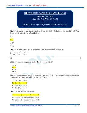 Đề thi thử đánh giá năng lực Toán 12 - Đề số
