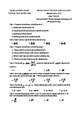 Đề thi thử kỳ thi THPT quốc gia Toán lần 1 -