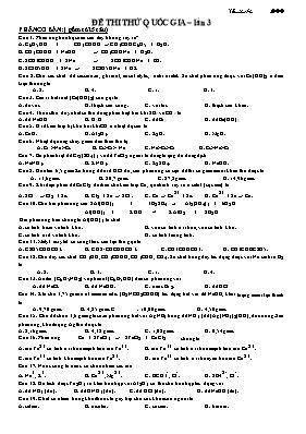 Đề thi thử THPT quốc gia Hóa học lần 3