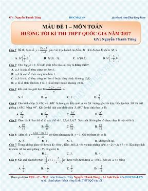 Đề thi thử THPT quốc gia Toán 2017 - Nguyễn T