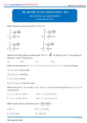 Đề thi thử tư duy định lượng Toán 12 - Đề số