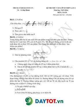 Đề thi thử vào lớp 10 THPT môn Toán lần 1 - N