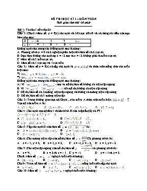 Đề thi trắc nghiệm học kì I Toán 12