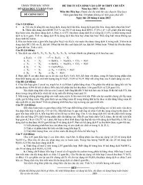 Đề thi tuyển sinh vào lớp 10 Hóa học THPT chu