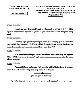 Đề thi tuyển sinh vào lớp 10 môn Lịch sử THPT