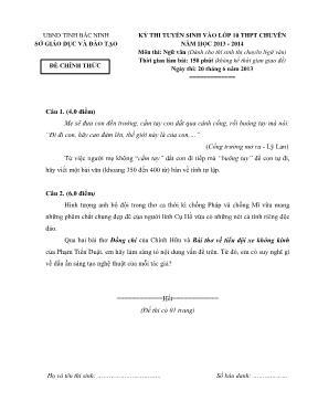 Đề thi tuyển sinh vào lớp 10 Ngữ văn THPT chu