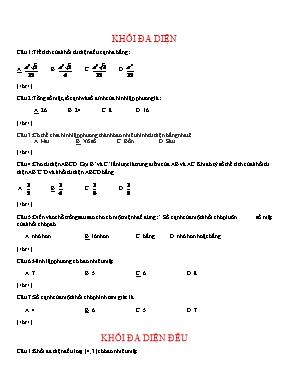 Đề trắc nghiệm về Khối đa diện Hình học 12 (K