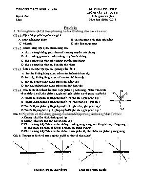 Đề và đáp án kiểm tra một tiết Vật lí lớp 7 -