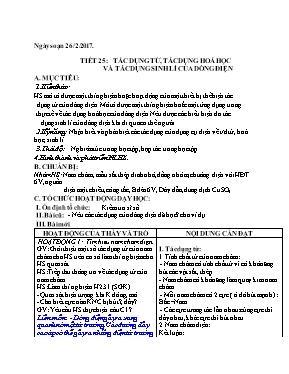 Giáo án Vật lí lớp 7 - Tiết 25: Tác dụng từ,