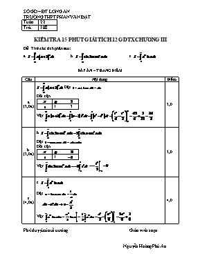 Kiểm tra 15p chương 3 Giải tích 12 - Trường THPT Phan Văn Đạt