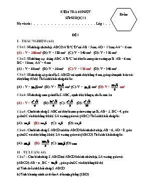 Kiểm tra 45p Hình học 12 - Đề số 1 (Có đáp án