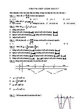 Kiểm tra chất lượng học kì I Toán 12 (Có đáp
