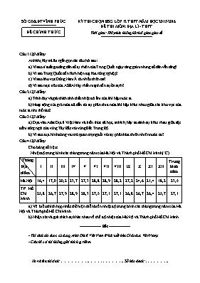 Kỳ thi chọn học sinh giỏi Địa lí 12 (Có đáp á