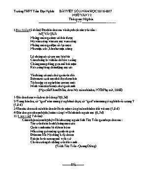 Đề kiểm tra bài viết số 3 Ngữ văn lớp 12 - Nă
