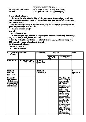 Đề kiểm tra bài viết số 5 Ngữ văn lớp 12 - Nă