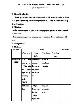 Đề kiểm tra học kì I Ngữ văn lớp 7 - Sở GD &