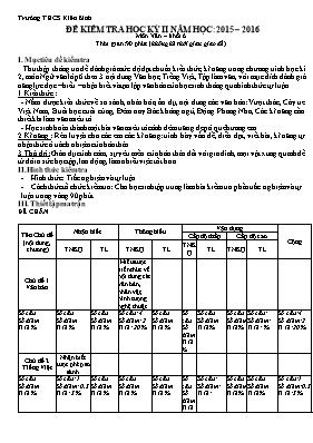 Đề kiểm tra học kì II Ngữ văn lớp 6 - Năm học