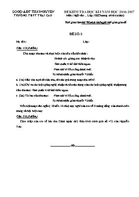 Đề và đáp án kiểm tra học kì I Ngữ văn lớp 10